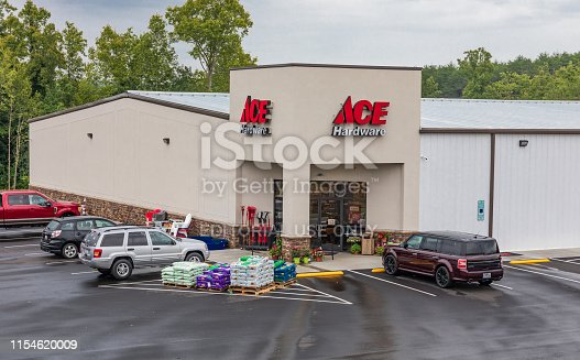 Bethlehem, NC, USA-June 5, 2019: A local Ace Hardware, a branch of an American hardware retailers' cooperative, the world's largest, and based in Oak Brook, ILL.