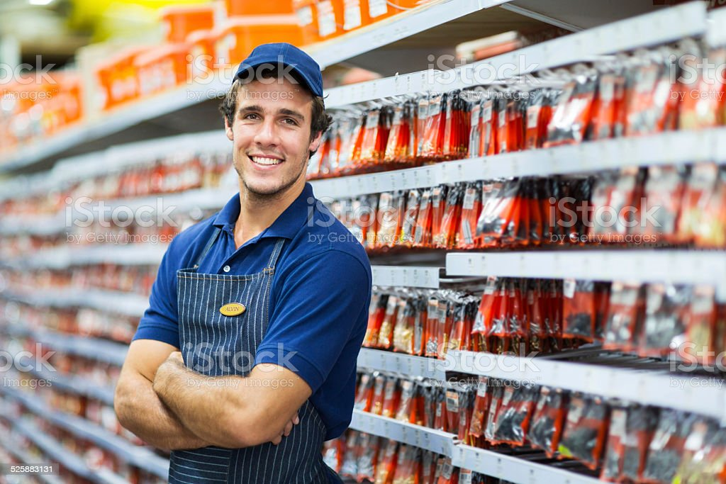 hardware store salesman stock photo
