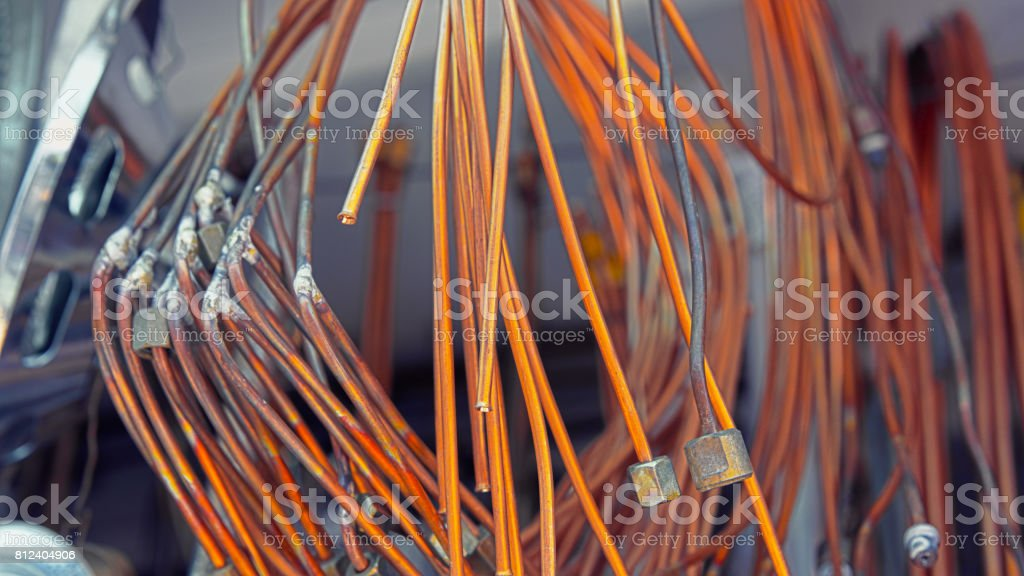 Hardware store. Tubes for Air conditioners stock photo
