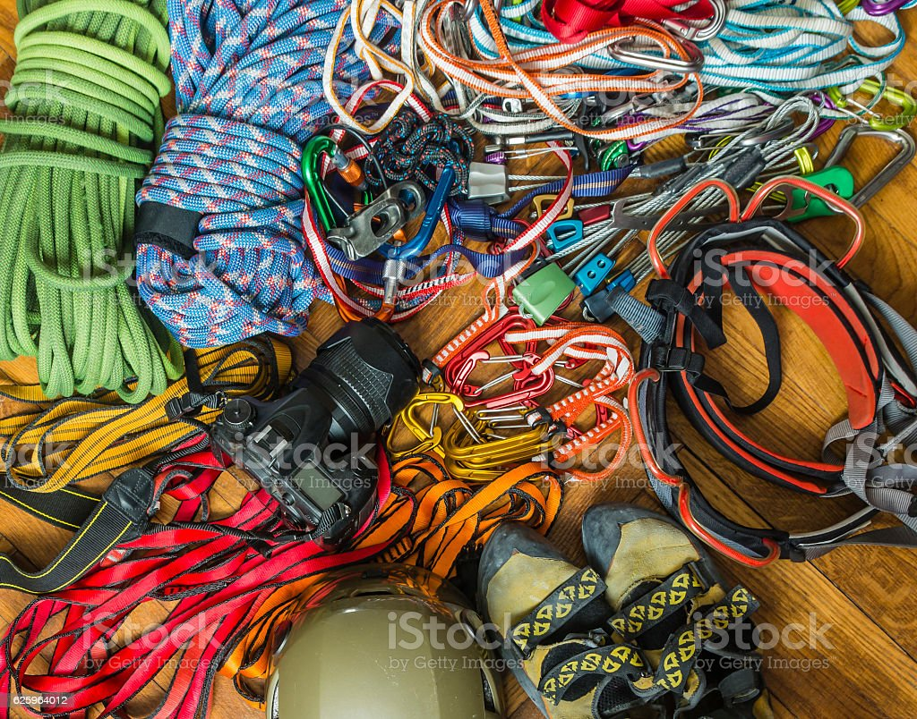 Hardware to multi-pitch climb. stock photo