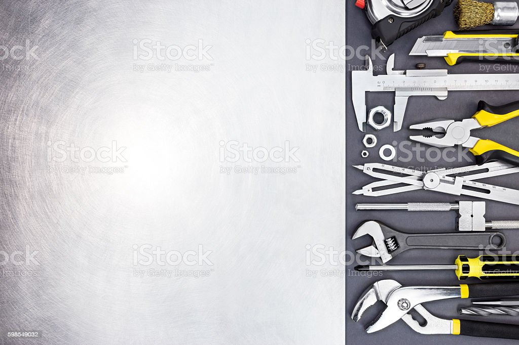 hardware tools and brushed metal background texture photo libre de droits