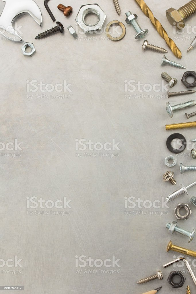 hardware tools at metal background stock photo