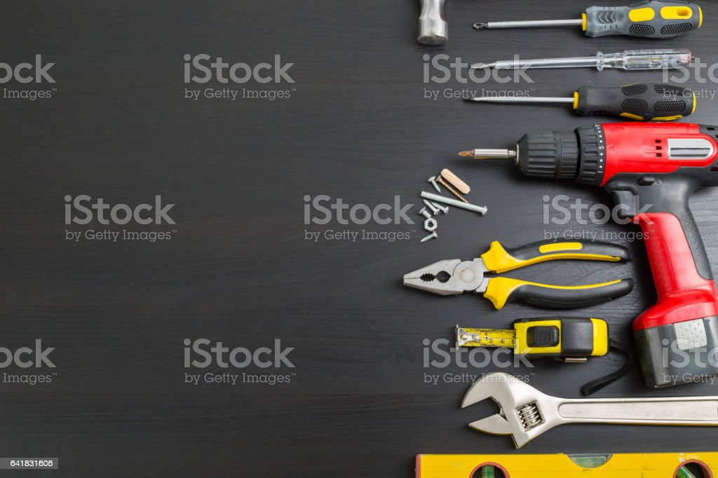 Hardware Tools on black background Tools manual hardware blank space stock photo