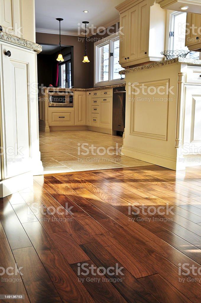 Hardwood  and tile floor stock photo