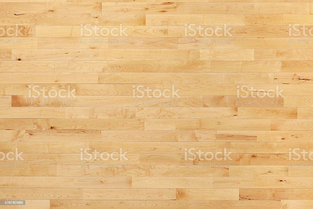 Hardwood basketball court floor viewed from above stok fotoğrafı
