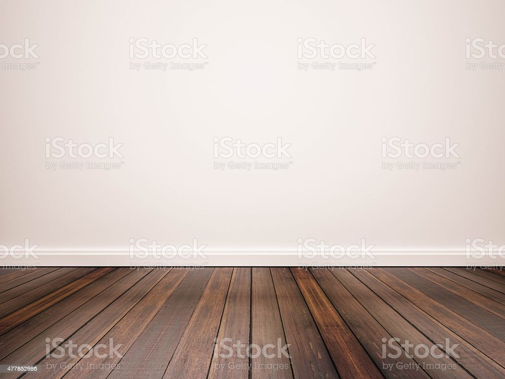 hardwood floor and white wall stock photo