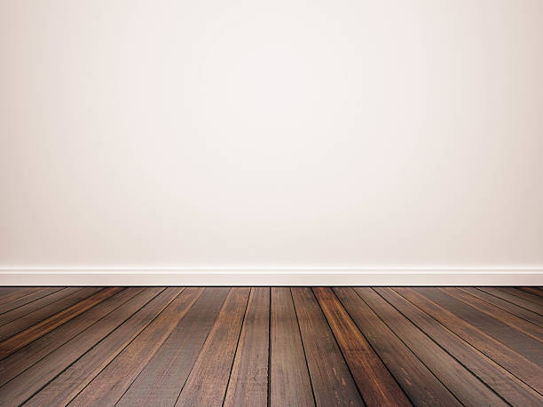 hardwood floor and white wall - diminishing perspective stock photos and pictures