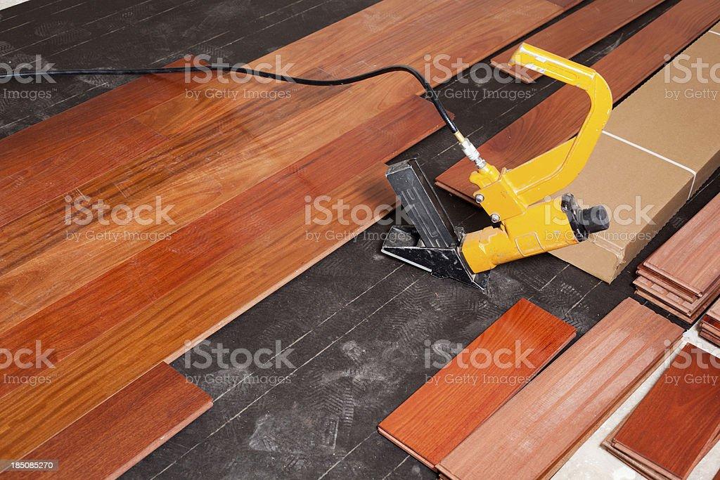 Hardwood Floor Instalation royalty-free stock photo
