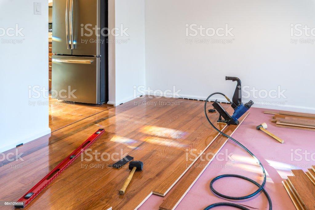 Hardwood floor installation stock photo