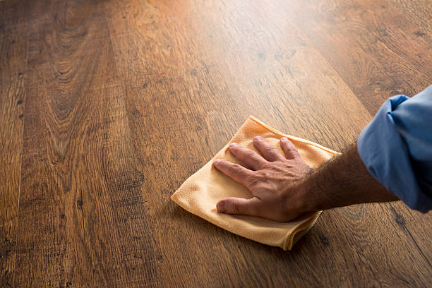 Hardwood floor manteinance stock photo