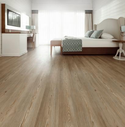 Hardwood floor in a bedroom