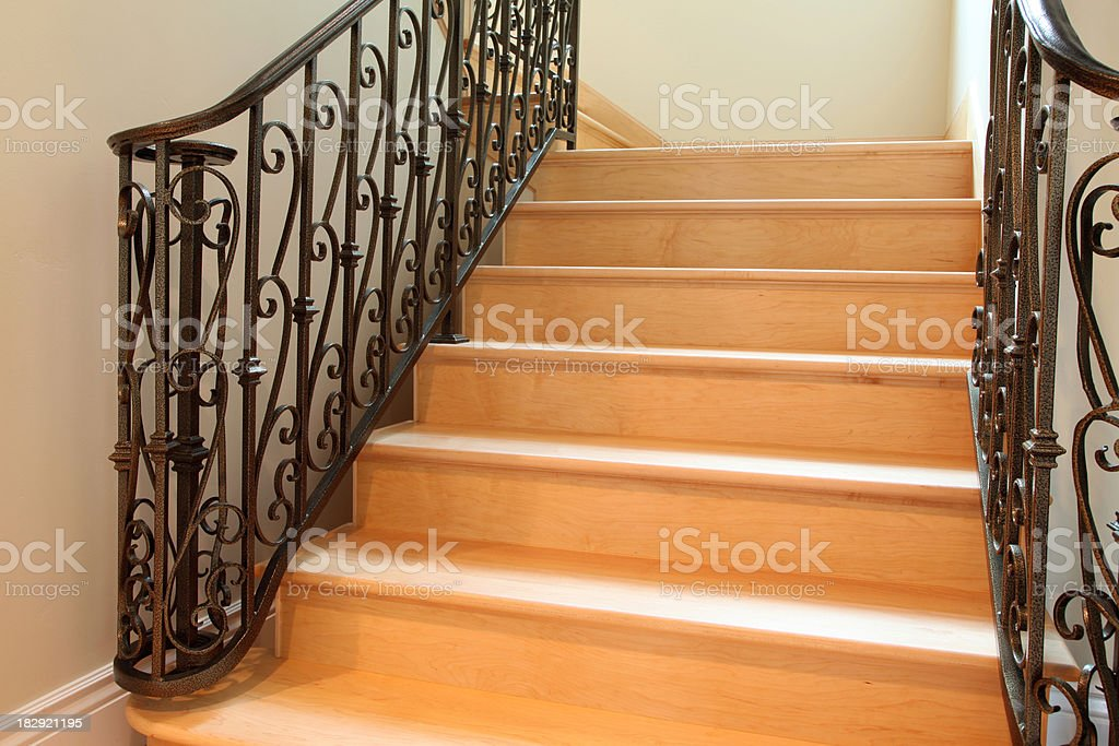 Hardwood Floor Stair stock photo