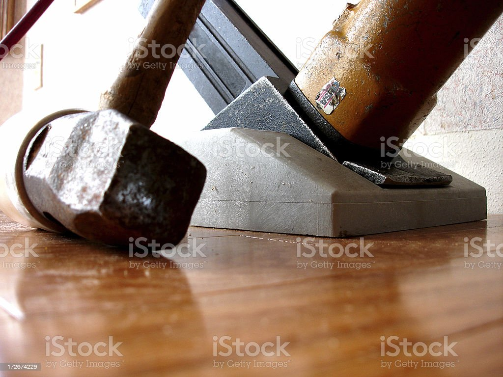 Hardwood floor tools royalty-free stock photo