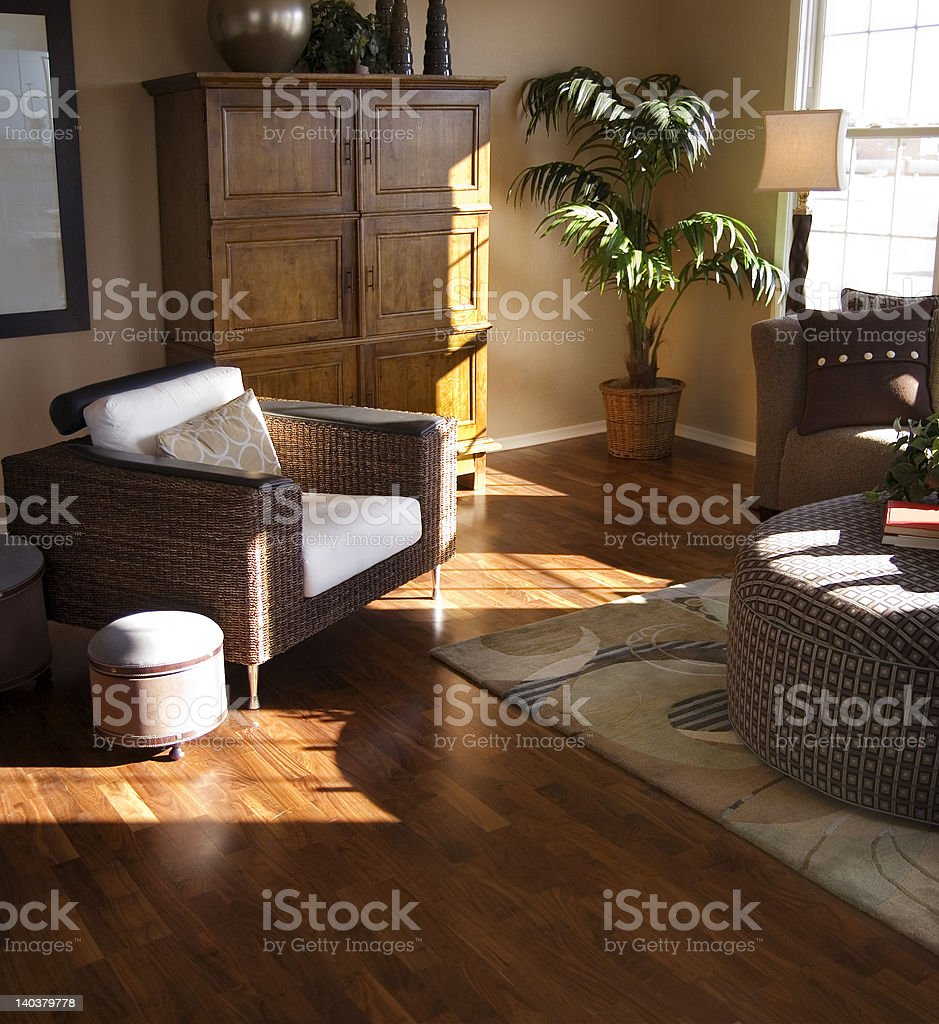 Hardwood Flooring in Living Room stock photo