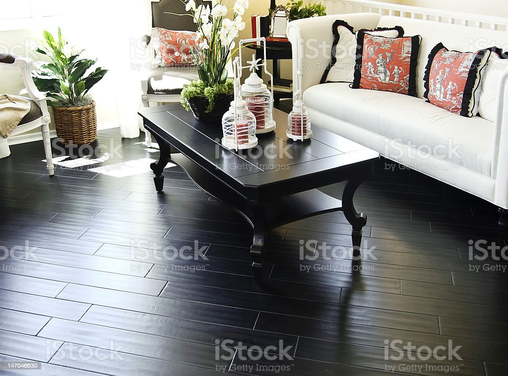 Hardwood flooring in new home stock photo
