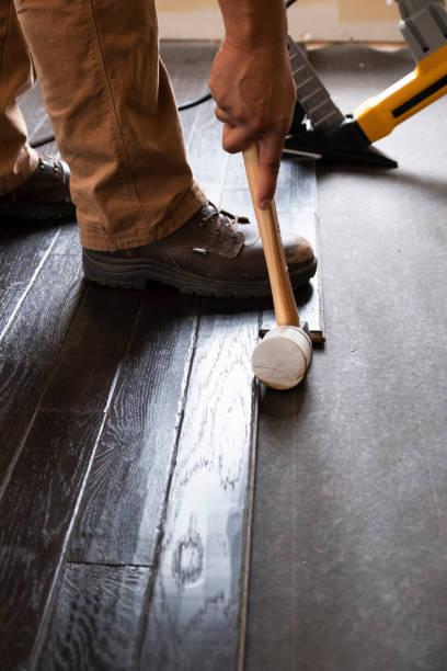 Hardwood Flooring Installation stock photo