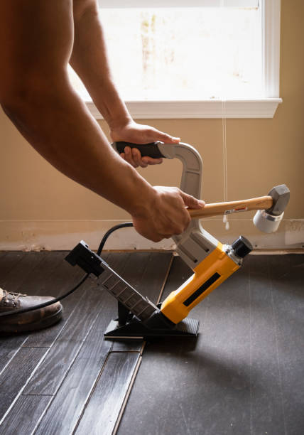 Hardwood Flooring Nailing stock photo