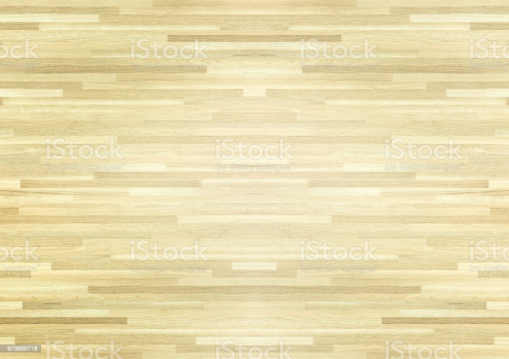 Hardwood maple basketball court floor viewed from above. stock photo