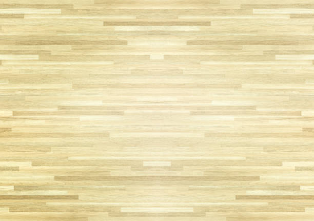 hardwood maple basketball court floor viewed from above. - basket foto e immagini stock