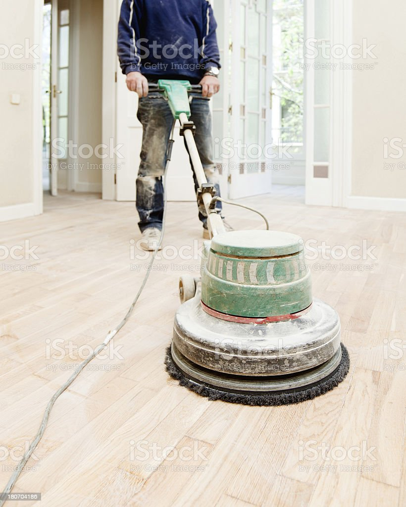 Hardwood professional sanding stock photo