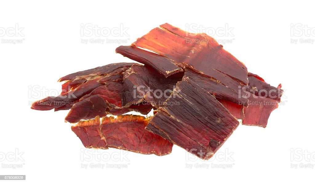 Hardwood smoked beef jerky on a white background stock photo