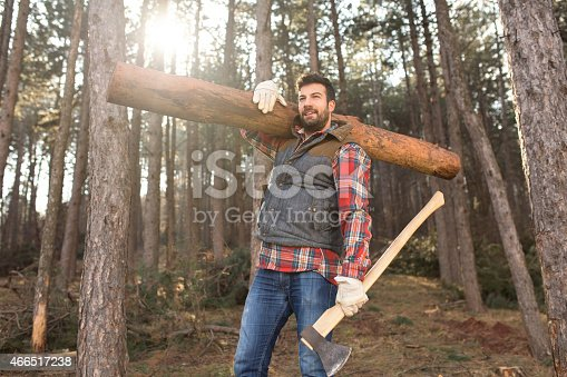 Portrait of a young and handsome lumberjack man, carrying a tree trunk on his shoulder, working hard in the forest.