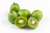 composition of fresh hardy kiwi fruits isolated on white copy space