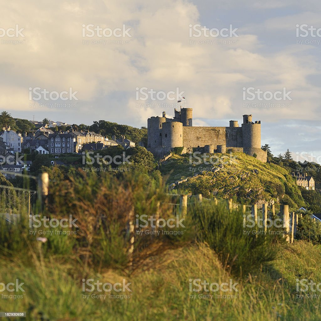 Harlech and the Castle at Sunset stock photo