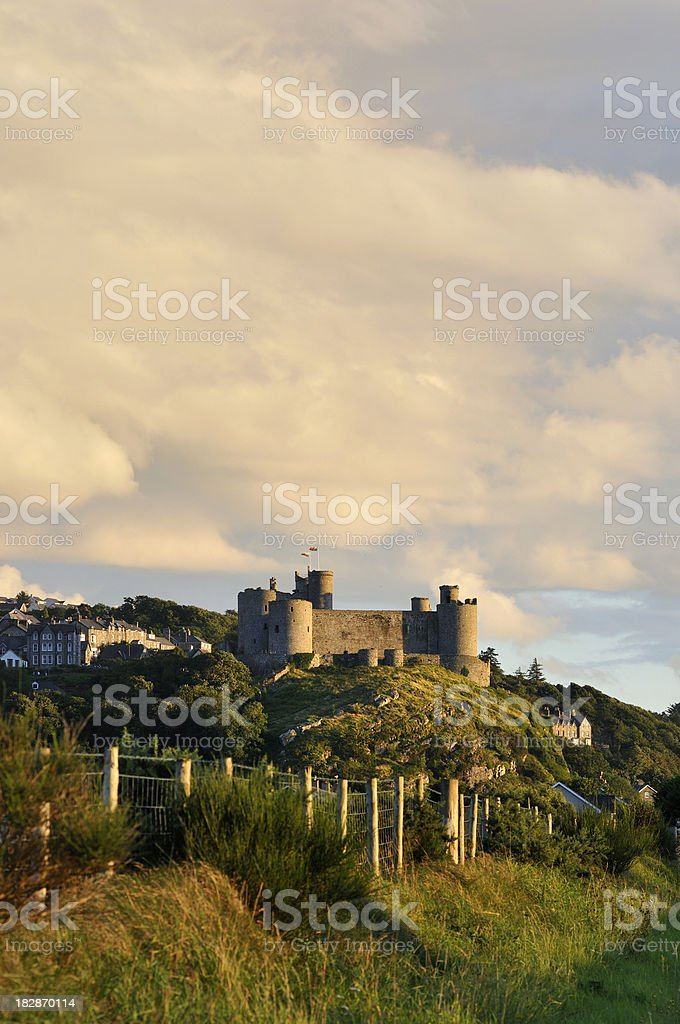 Harlech and the Castle at Sunset portrait stock photo