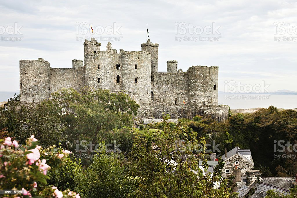 Harlech Castle and village rooftops stock photo
