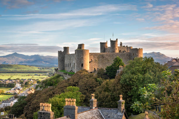 Harlech Castle at sunrise Harlech, Wales, United Kingdom - September 20, 2016: View of Harlech Castle in North Wales at sunrise welsh culture stock pictures, royalty-free photos & images