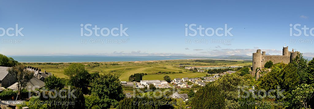 Harlech Castle Panorama stock photo