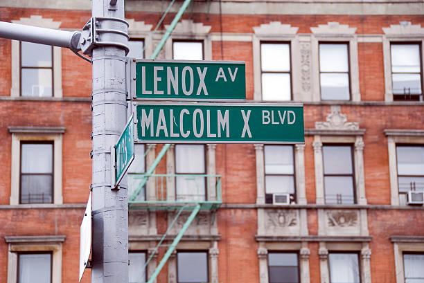 harlem malcolm x blvd street sign - black power 個照片及圖片檔