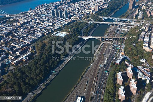 Harlem river. Bridges between Manhattan and the Bronx in New York NYC in USA. Upper Manhattan. Aerial helicopter view