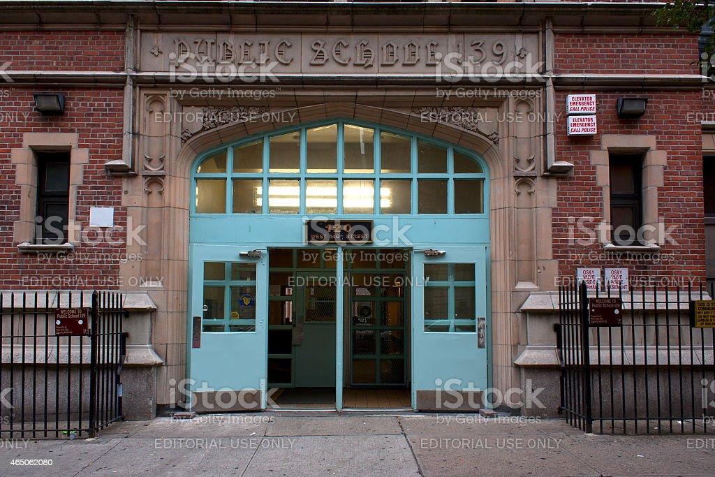 Harlem school entrance stock photo