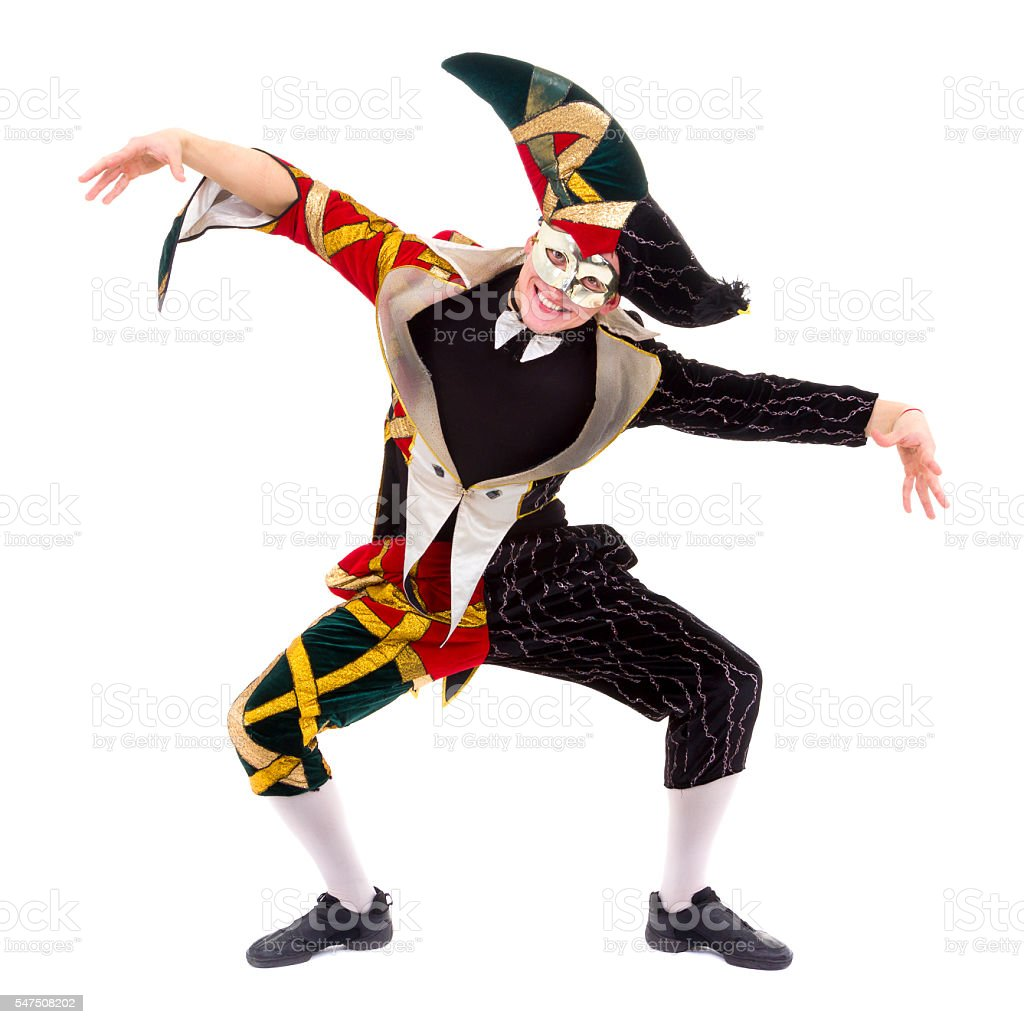 harlequin wearing a mask, isolated on white background in full stock photo