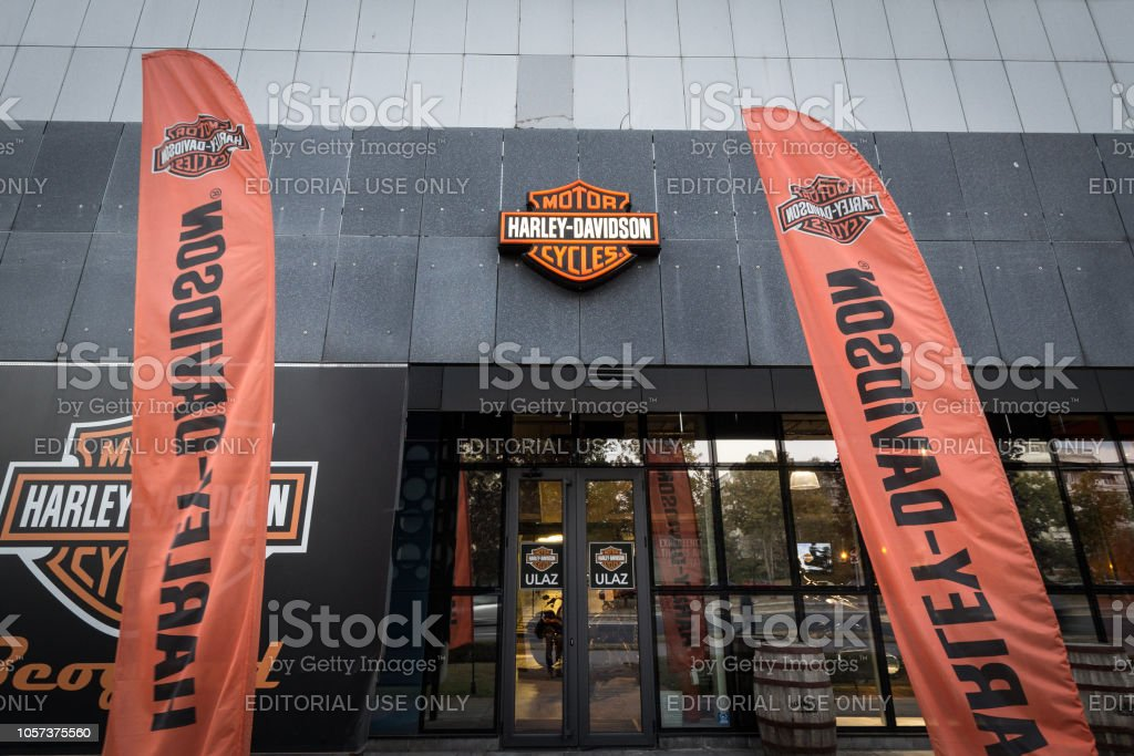 Harley Davdidson logo on their main dealership store Belgrade. Harley Davidson is an iconic Motorbike and Motorcycle American manufacturer – zdjęcie