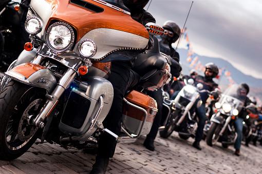 Izmir, Turkey - May 29, 2015: Izmir, Harley davidson motor convoys on the road.