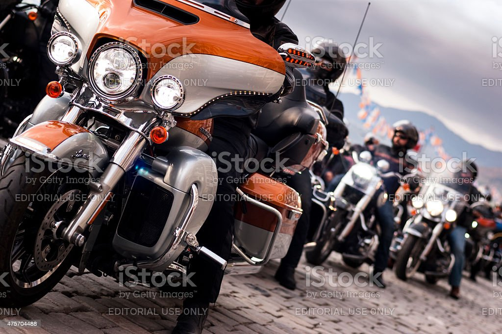 Harley davidson convoy. stock photo