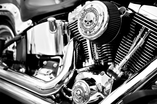 Bergen County, New Jersey, USA - May 4, 2014: Custom Harley Davidson motorcycle engine with custom Harley logos. Harley Davidson motorcycles continue to be the most popular and coveted motorcycles for customizing throughout the world.