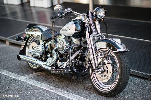 Borgosesia, Italy - June 28, 2015: A Harley Davidson motorbike parked in the streets of Borgosesia.
