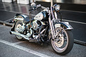 Borgosesia, Italy - June 28, 2015: A Harley Davidson motorbike parked in the streets of Borgosesia.