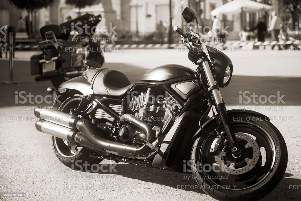 Harley Davidson motorcycle, black and white. stock photo