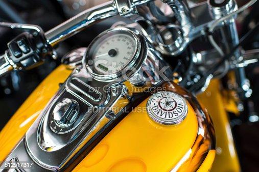 Kyiv, Ukraine- September 13 , 2014: Harley Davidson motorcycle dashboard and speedometer detail  at the Kyiv Kustom Kulture fest in Kiev, Ukraine