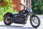 Wunstorf / Germany - June 7,2019: Harley Davidson motorcycle stands on a street. Harley Davidson  is an American motorcycle manufacturer founded in 1903 in Milwaukee, Wisconsin.