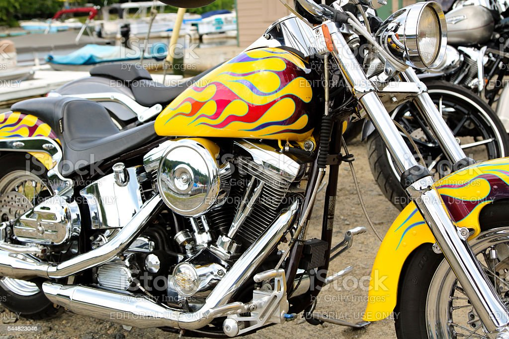 harley davidson motorcycle with flames paint job on yellow base stock photo more pictures of. Black Bedroom Furniture Sets. Home Design Ideas