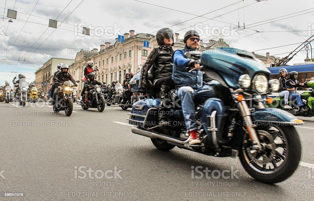 Harley Davidson Parade on Nevsky Prospekt. royalty-free stock photo