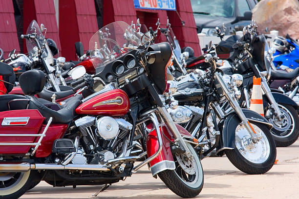 Harley Motorcycles Lined Up stock photo