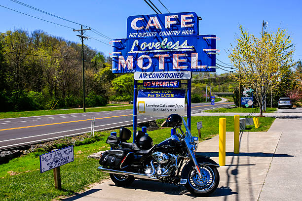 Harley motorcycyle by the Loveless Motel and Cafe, Nashville, TN stock photo