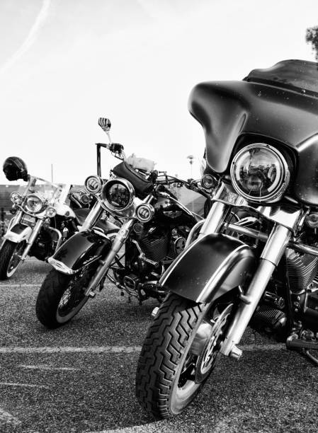 Harley-Davidson Motorcycles. Cecina, Livorno, Italy - May/24/2019: Harley Davidson Motorcycles parked on the road. three wheel motorcycle stock pictures, royalty-free photos & images